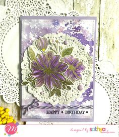Gold embossed, Zig colored Floral card