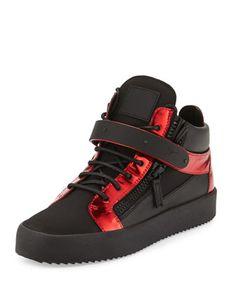 Men\'s Metallic Mid-Top Leather Sneaker, Black by Giuseppe Zanotti at Neiman Marcus.