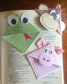 corner bookmarks- made them before with @Mary Fulk as monsters.