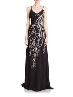 Halston Heritage - Strappy Feather-Print Gown