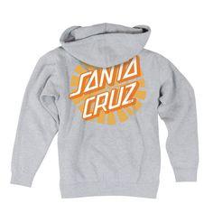 Santa Cruz Sunray Dot Hooded Zip Juniors Sweatshirt Grey Heather #SantaCruz #Hoodie