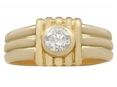 0.32ct Diamond and 18ct Yellow Gold Ring - Vintage French Circa 1950 #frenchdiamondring #cocktailring #vintagejewelry