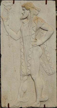 Relief panels of four gods : Mercury, Augustan period 27 BC - 14 AC, Chapel of The Four Gods, Herculano, Italy.