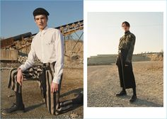 Left: Making a chic military statement, Andrea Silenzi wears a Dolce & Gabbana flat cap with a Dsquared2 shirt, Ann Demeulemeester striped linen trousers, and Diesel leather shoes. Right: Andrea sports a Faith Connexion camouflage print military jacket with J.W. Anderson trousers. Andrea also wears an Alyx webbing belt and Officine Creative dress shoes.