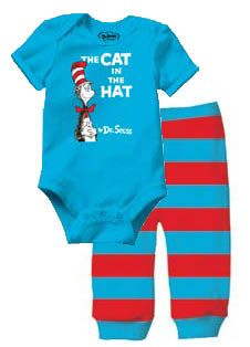 Dr. Seuss Cat in the Hat Infant Two Piece Bodysuit and Pants Set $14.99