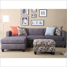 Poundex Simplistic Microfiber 3PC Sectional with Ottoman in Charcoal - Poundex Simplistic Microfiber 3PC Sectional with Ottoman in Charcoal Color. Designer carefully selected leather and fabric for wearability, seam strength, beauty and comfort.