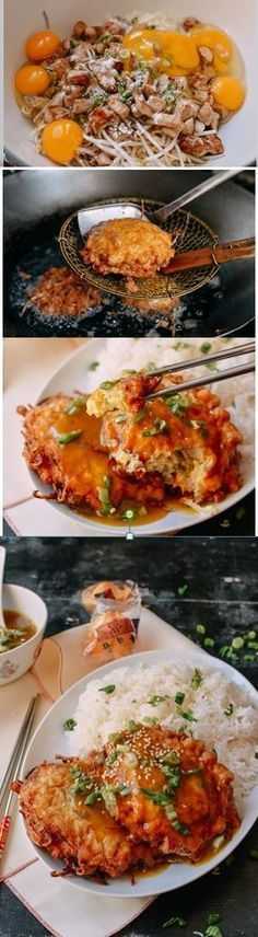 Chicken Egg Foo Young recipe by the Woks of Life Chicken egg foo young is a classic Chinese restaurant dish of onions eggs, bean sprouts and chicken deep fried into pancakes and covered in delicious gravy. Japanese Tofu Recipes, Asian Recipes, Healthy Recipes, Asian Foods, Chinese Recipes, Chinese Food, Chinese Meals, Chinese Chicken, Chicken Egg Foo Young Recipe