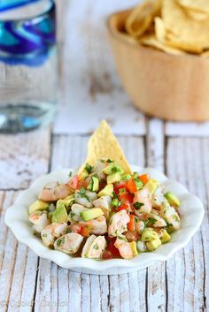 Tequila-Spiked Shrimp Ceviche Recipe with Avocado - Cookin' Canuck Avocado Recipes, Fish Recipes, Seafood Recipes, Mexican Food Recipes, Appetizer Recipes, Cooking Recipes, Healthy Recipes, Appetizers, Shrimp Ceviche With Avocado