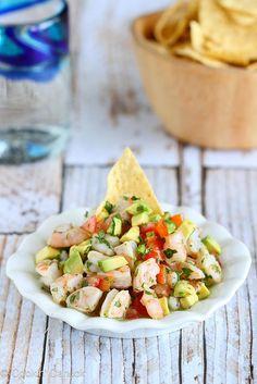 Tequila-Spiked Shrimp Ceviche Recipe with Avocado | cookincanuck.com #CincodeMayo #shrimp #avocado by CookinCanuck @Mrs.Miller' Canuck | Dara Michalski