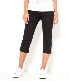Vente Corsaire femme en coton Noir T34 - Short Camaieu. Ce pantalon femme a une coupe corsaire ajustée, 5 poches et une texture en coton stretch pour un...