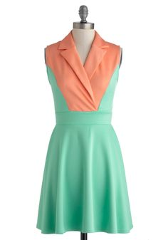 Mellow in Melon Dress - Short, Mint, Coral, Casual, A-line, Sleeveless, Collared, Solid, Work, Colorblocking