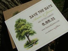 save the date cards rustic tree wedding by sweetinvitationco, $50.00