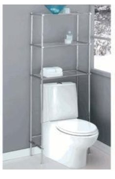 Chrome shelves over toilet, Organize it All Metro Space Saver....I need a new one....so bad!