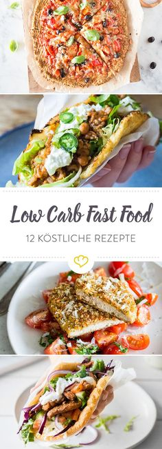 With these 12 ingenious recipes for low carb fast food, low-carbohydrate food makes you full and happy. 12 ideas for low carb fast food Springlane springlanede Low-Carb Rezepte - leicht & Low Carb Fast Food, Low Carb Diet, Low Carb Recipes, Healthy Recipes, Fast Recipes, Pizza Recipes, Healthy Snacks, Healthy Eating, Healthy Fast Food