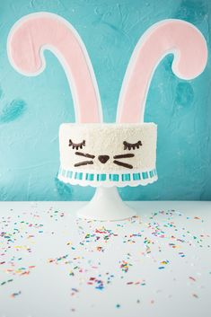 This vegan funfetti cake is a vanilla sprinkles cake with vanilla frosting, decorated to look like a bunny with coconut fur. . . . #vegan #vegancake #easter #eastercake #veganeaster #bunnycake #easterbunny #cake #funfetticake #funfetti #sprinkles