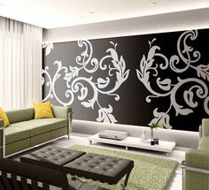 large stencil design in modern room.wanna do this to my dinning room Wall Design, House Design, Wall Stencil Designs, Large Wall Stencil, Large Stencils, Stencil Patterns, Sweet Home, Diy Casa, Modern Room