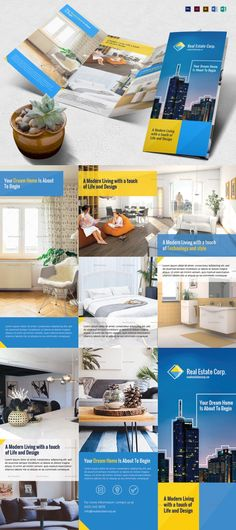 Modern Real Estate Brochure Template Formats Included : Illustrator, InDesign, MS Word, Photoshop, Publisher -- File Size : 11x8.5 Inchs