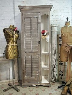 Cabinet with repurposed shutters.