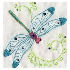 Dragonfly embroidery design.