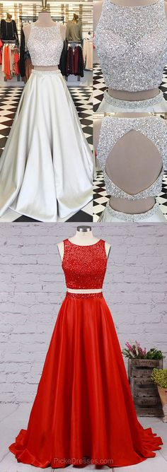 Silver Prom Dresses Long, Two Piece Prom Dresses 2018, Cheap Prom Dresses Open Back, Satin Evening Formal Party Dresses Scoop Neck