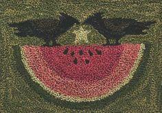 TK 047 Watermelon Crows $14.95 primitive crow watermelon punch needle pattern