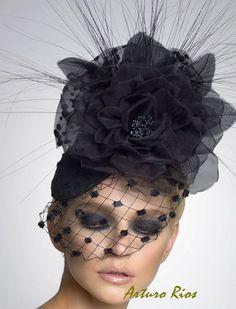 Black Couture Fascinator Cocktail hat Derby Hat by ArturoRios