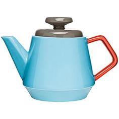 POP Turquoise, Red and Brown Stoneware Teapot