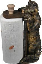 Standing Alligator Paper Towel Holder - Rivers Edge Cajun Swamp People Decor - Ha!