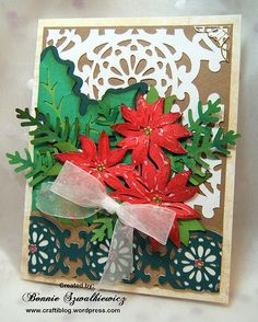 This card was an experiment. I cut lots of pieces and put them all on the same card. Each element had 3 layers, so although this design does not have much in the way of 3-d items; it does have a ch…