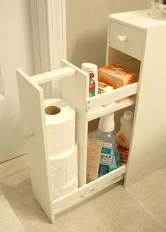 Small White Bathroom Cabinet - hide all the toilet nasties!