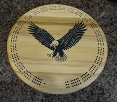 eagle logo wooden cribbage board  Custom by CustomSignsandTags