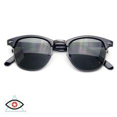 Classic Half Frame Vintage Clubmaster Wayfarer Sunglasses http://EmblemEyewear.com/collections/wayfarer-sunglasses/products/classic-half-frame-vintage-clubmaster-wayfarer-sunglasses