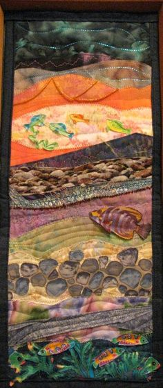 Seascape Applique Quilted Fiber Art Wall Hanging by cindyrquilts, $275.00