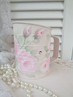 WISPY PINK ROSE SIFTER hand painted hp chic shabby vintage cottage planter art  #Unbranded