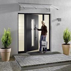 Hormann TOP Aluminium Entrance Doors - Hormann Entrance Doors Online from Samson Doors UK Front Door Awning, Front Door Canopy, Awning Canopy, Front Door Entrance, House Front Door, House Doors, Entry Doors, Exterior Doors, Garage Doors Uk