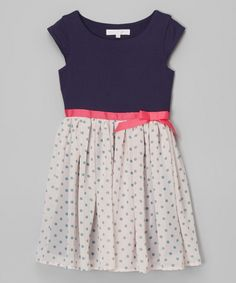 Look what I found on #zulily! Sophia Young Navy & Pink Polka Dot Dress - Toddler & Girls by Sophia Young #zulilyfinds