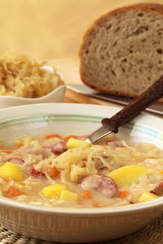 When you are looking to create something unique for dinner, you might want to consider a delicious Czech cabbage soup. This dish is not only hearty, but it will also combine a number of delicious flavors that your entire family is going to love. Slovak Recipes, Czech Recipes, German Recipes, Crockpot Recipes, Cooking Recipes, Cabbage Soup Recipes, Soup And Sandwich, Paella, International Recipes