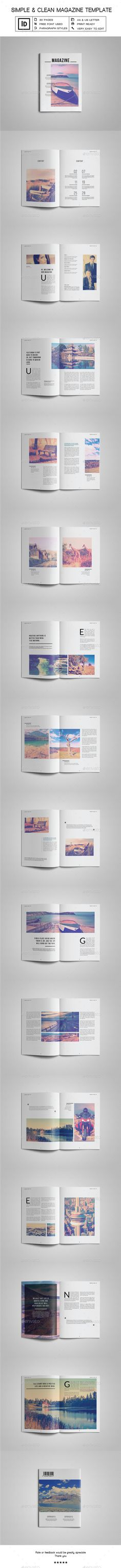 Simple & Clean Magazine Template InDesign INDD. Download here: https://graphicriver.net/item/simple-clean-magazine-tempalte-iv/17449707?ref=ksioks