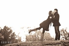 Engaged guy kissing with his fiancée. Pre-wedding engagement photo session at New York City, NY, by wedding photographers of Leo Dj Photography. http://leodjphoto.com