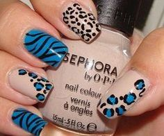 Blue and tan leopard and zebra print