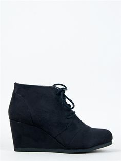City Classified REX Lace Up Wedge Bootie - I have these in grey and I love them... Should I get black too? Decisions... Decisions...