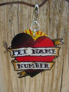 custom vintage tattoo heart and banner pet dog cat by wickedminky, $14.00