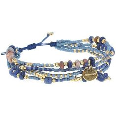 Chan Luu Turquoise, Sodalite and Sterling Silver Beaded Wrap Bracelet ($95) ❤ liked on Polyvore featuring jewelry, bracelets, dark blue, sterling silver charms, sterling silver turquoise jewelry, charm bangles, sterling silver jewelry and adjustable bangle