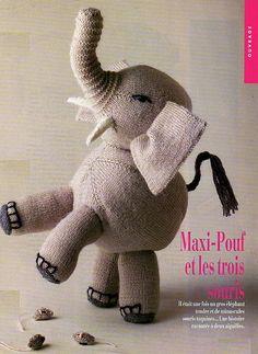 Elephant Peluche, Origami, Softies, Knitting Projects, Knit Crochet, Dinosaur Stuffed Animal, Teddy Bear, Sewing, Dolls