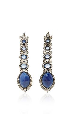 Rough Sapphire Long Drop Earrings by SUTRA for Preorder on Moda Operandi