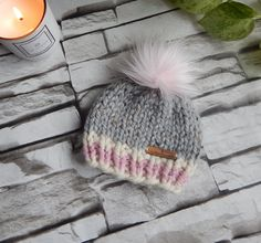 Excited to share this item from my #etsy shop: Newborn Girl Toque, Knit Baby Hat, Baby Girl Gift, Baby Hat, Newborn Gift, Baby Hat with Fur Pom Pom,Baby Shower Gift Pom Pom Baby, Fur Pom Pom, Girl Gifts, Baby Gifts, Baby Hats Knitting, Baby Girl Hats, Crochet Patterns For Beginners, Newborn Gifts, Crochet Baby