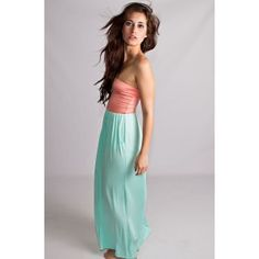 Tell Me I'm Cute Maxi Dress Peach And Mint