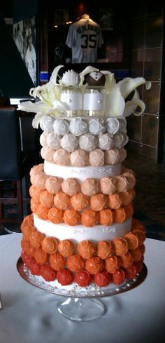 Cake Bite Cakes - This Ombre Cake Bite Cake I did over the weekend for a wonderful couple who had their wedding reception at Comerica Park, home of the Detroit Tigers. The couple wanted a cake in different shades of orange, so I thought that I would create an ombre effect. The cake bites on the top tier of the cake was Italian cream, middle tier was  lemon drop and bottom tier was double chocolate chip.