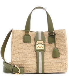 """The Riviera Medium Tote from Mark Cross is hand-crocheted in Italy from neutral-toned raffia and finished with """"Avocado"""" green leather trim. It features a double top handle and an adjustable shoulder strap, and opens to reveal . Gold Top, Mark Cross, Medium Tote, Color Names, Handbags Online, Green Leather, Hand Crochet, Luxury Branding, Dust Bag"""