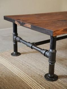 DIY Coffee Table: Turn some plumbing supplies and a couple of old planks into a great rustic industrial style coffee table. Description from pinterest.com. I searched for this on bing.com/images
